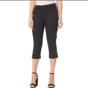 NYDJ Black Marilyn Crop Cuffed Jeans NWT 4P